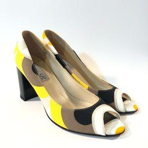 Diane B. Italian peep toe heel yellow black white